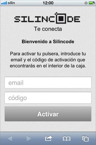 Pantalla de activación de la pulsera silincode join