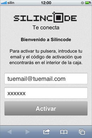 Introducir mail y codigo de activación de la pulsera silincode join