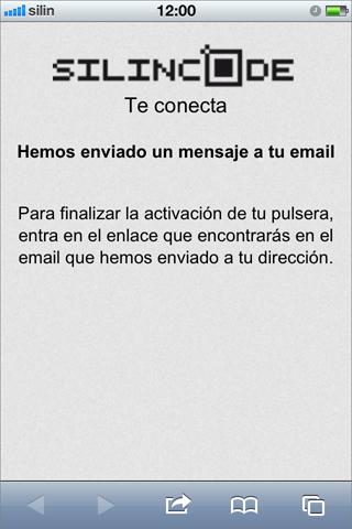 Pantalla informando revisar email para activar la pulsera silincode join
