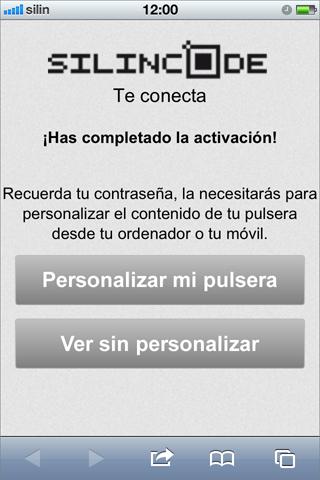 Pantalla de acceso a personalización de la pulsera silincode join